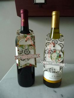 Wine bottle tags on bottles