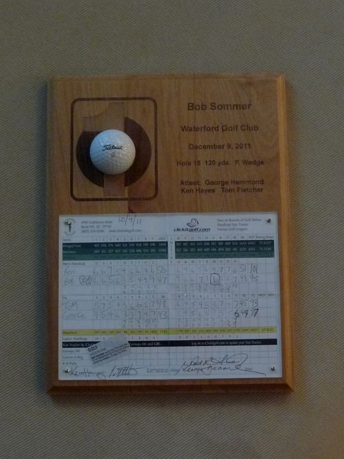 Bob's hole in one plaque